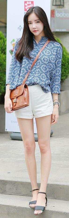 Luxe Asian Korean Women Fashion More Blue Blouse