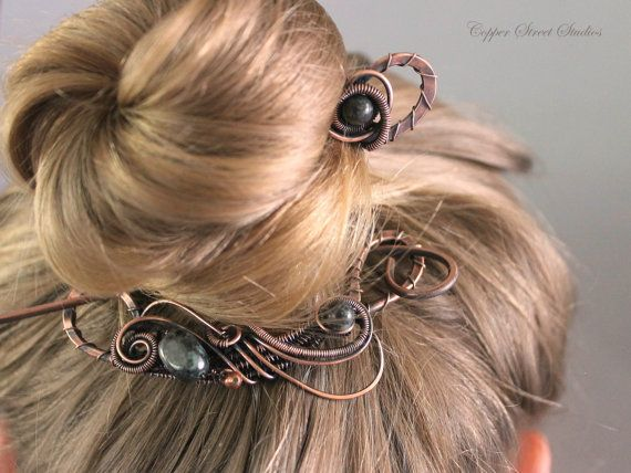 OOAK Copper Hair Brooch Set with Rainforest Jade Stones, Wire Wrapped Hair Barrette, Unique Hair Clip, Hair Accessories for Women Gift