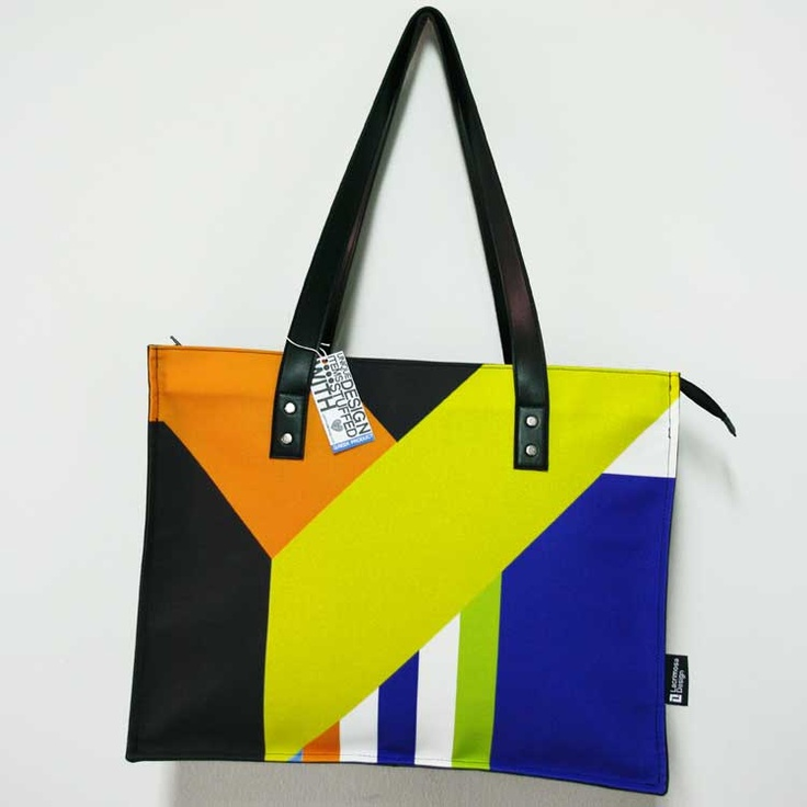 """""""Down the slide"""" A unique style, large bag for those who love linear shapes and color harmony."""