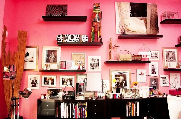 Love the shelves on the wall and how they are used