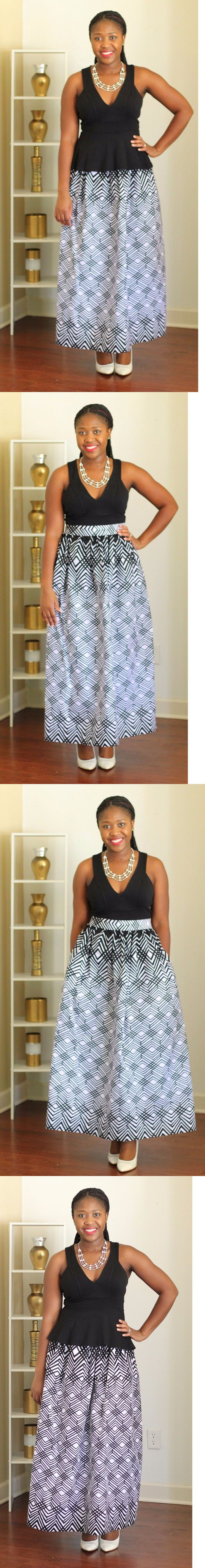 Africa 155241: African Wax Print Maxi Skirt, Plus Size Skirt Black And White Ank... at Diyanu
