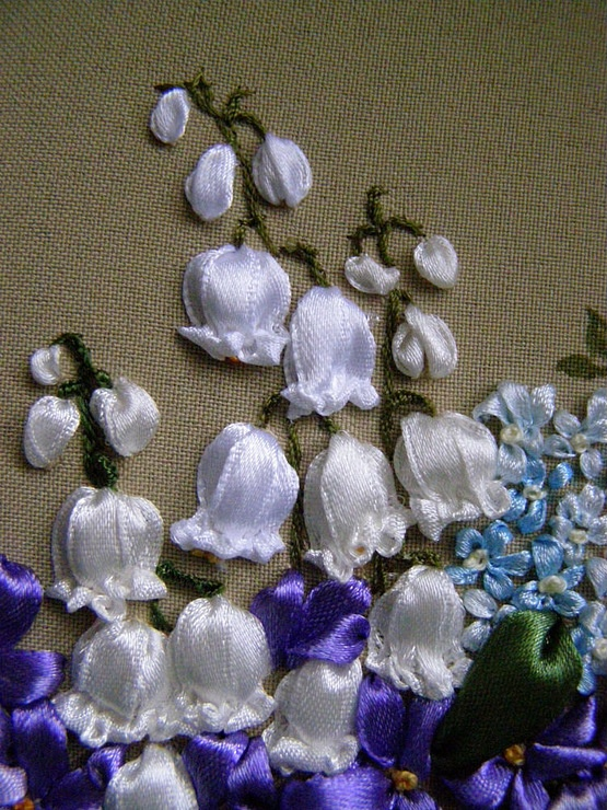 Ribbon embroidery bluebells. So pretty that I can't find words!