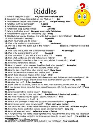A collection of short riddles i have gathered over the years. I'm sure u know most but it's nice to be reminded of a few. Useful as warmers/ creating classroom discussion etc. answers provided.big kiss - ESL worksheets