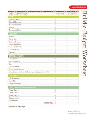 Free Printable Budget Worksheet: Printable Budget Worksheet