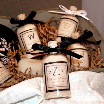 Personalized bath salt favors...good Christmas gifts for the girls in the office