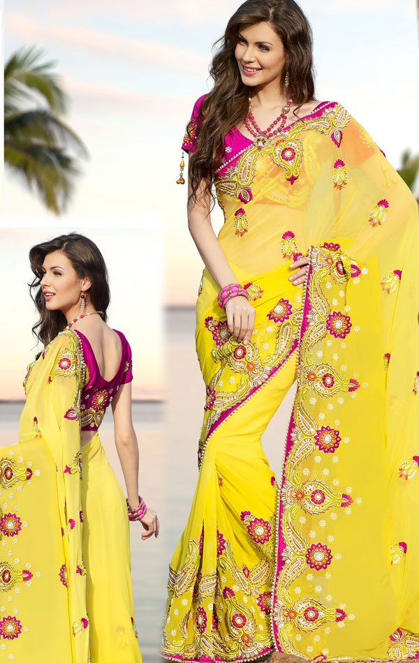 Bright Yellow Designer bollywood Saree With Blouse (HSPTAS717) - OnlineDesignerStore.com