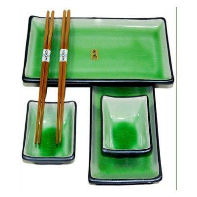 "6 Piece Japanese Sushi Plate Set w/ Chopsticks - Green Crackle . $39.95. 6 pc sushi plate set.. Made in Japan !!. Plate: 8.5"" x 5"" -Sauce Dish: 3 1/2"" x 2 1/2"". The Perfect gift set for any occasion! This set includes 2 rectangular sushi dishes, 2 sauce dishes and 2 pairs of chopsticks. The only thing needed is a special person to share a tasty dinner with. -Plate: 8.5"" x 5"" -Sauce Dish: 3 1/2"" x 2 1/2"" -Not suitable for use in microwaves or dishwashers."