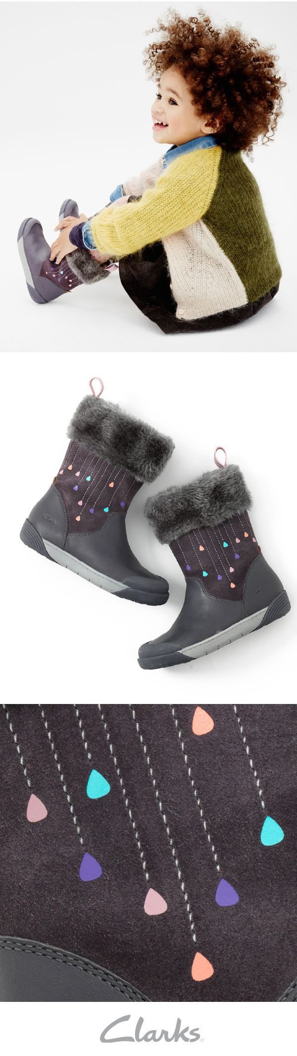 Winter is coming, which means it is time to warm up your little one's feet with Clarks Lil Folk Rae Toddler Boots. With a faux fur collar trim and rubber EVA sole unit that has been fused with our unique Air Spring technology, the boots are comfortable, durable and good for any winter weather that comes your way.
