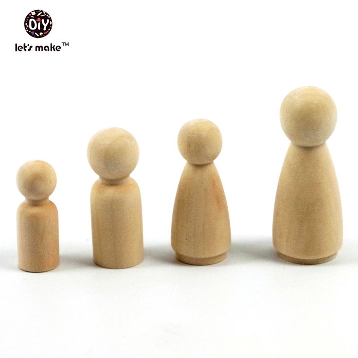Let's make 12 Wooden Peg Dolls - Unfinished Wooden People - Husband & Wife wooden dolls in a Muslin bag - Set of 6