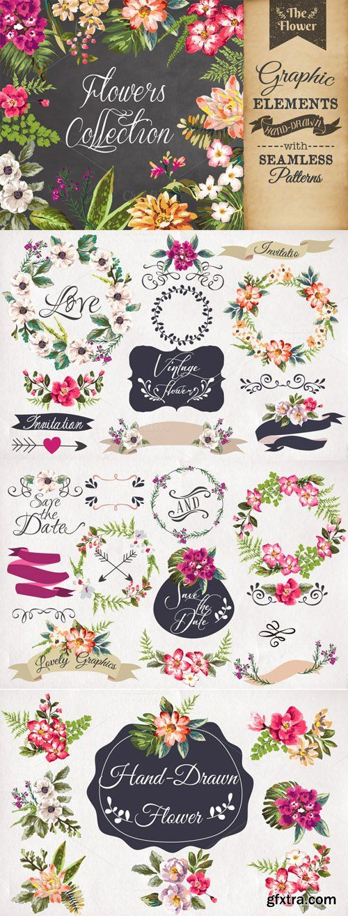 Hand-drawn flower collection Vol.1 - Creativemarket 86154 » Graphic GFX PSD Sources Stock Vector Image Tutorials Download