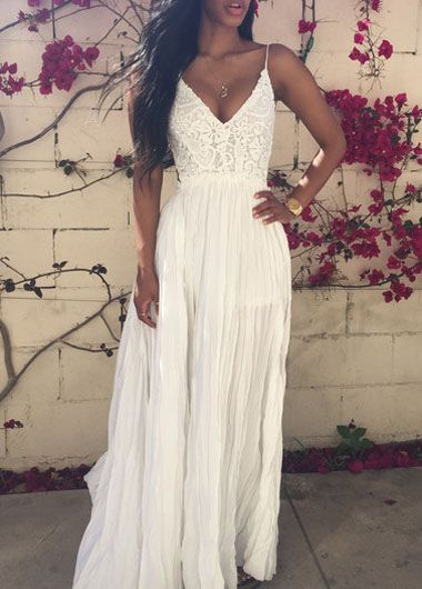 Solid White V Neck Lace and Chiffon Maxi Dress