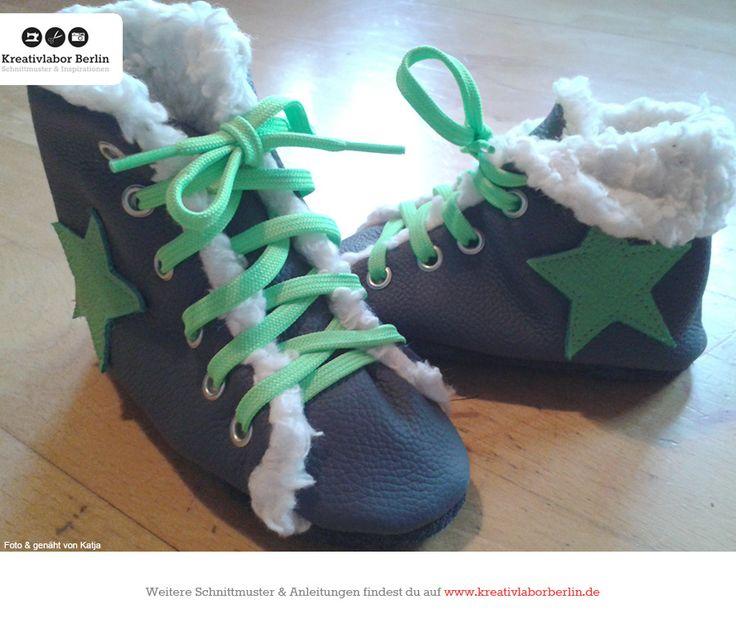 Kinderschuhe mit Schnürsenkeln, zum Schnittmuster: http://www.kreativlaborberlin.de/naehanleitungen-schnittmuster/kinderschuhe-mit-schnuersenkeln-groesse-20-bis-30/