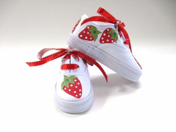 Girls Strawberry Shoes, Baby and Toddler, Kids Canvas Sneakers, Hand Painted on Etsy, $30.00