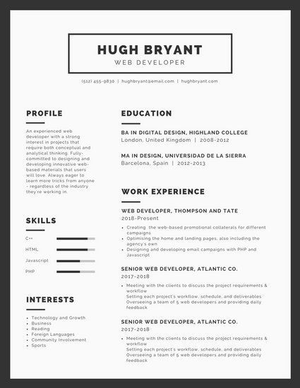 simple black and white box infographic resume