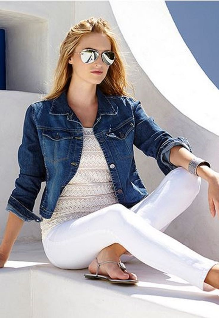 Love ... Love ... LOVE this look! Classic  Summer Fashion that NEVER seems to go out of STYLE! Blue Jean Jacket + White Crochet Tank + White Stretch Jeans + Super Cute Sandals and a pair of Bold Aviator Shades! #Summer #Basics #White #Denim_Jacket #Stretch #Jeans #Sunglasses #Shades #Spring_2014 #Summer_2014 #Fashion