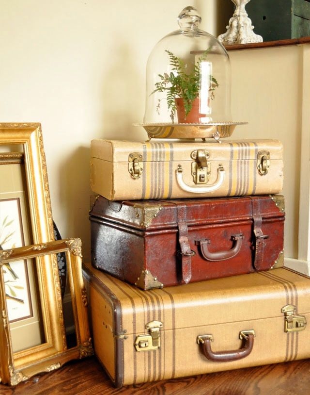 season less display with vintage suitcases and a