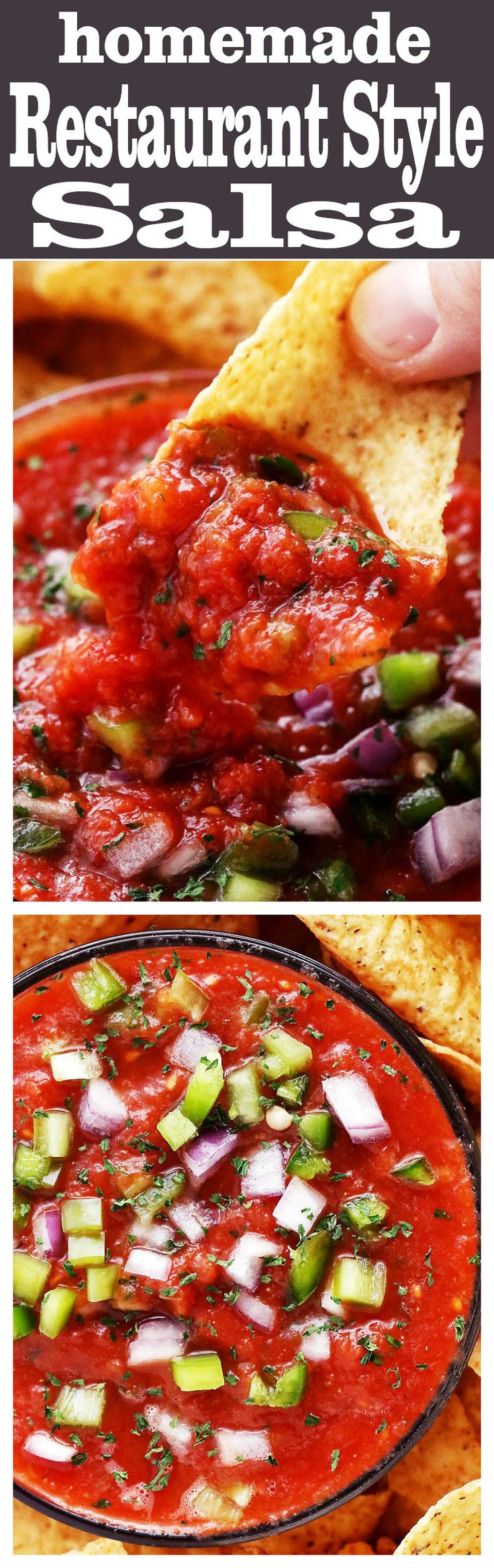 Homemade Restaurant Style Salsa - Super easy to make chunky homemade salsa made with delicious ingredients, and 1000x better than any store-bought version. Takes minutes to whip up and tastes amazing!