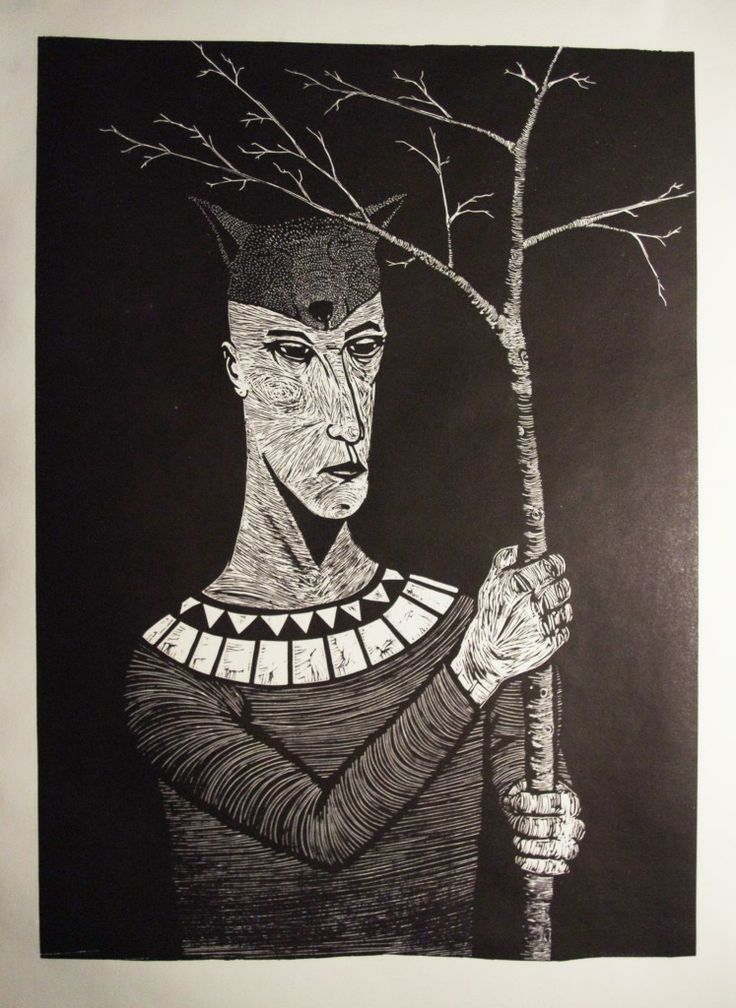 "linocut 50 x 70 cm ""Down to the roots"""