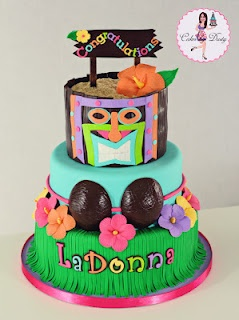Hawaiian Tiki Cake with Coconut Bikini Top (LaDonna)