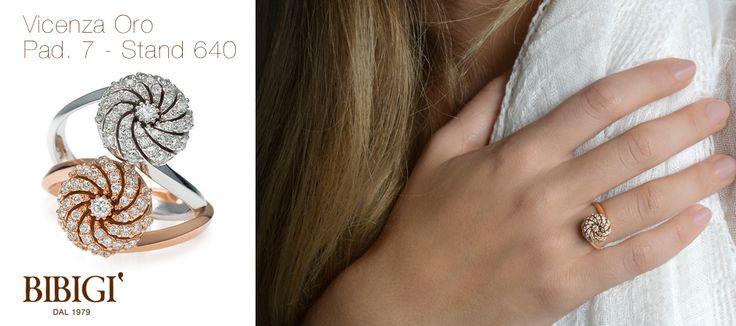 #VicenzaOro2015 #Bibigì, #anelli in oro rosa, oro bianco, #brillanti, #zaffiri, #smeraldi e #rubini. Un design insolito per solitari in oro bianco, oro giallo e oro rosa con straordinari intarsi che ricreano un piacevole effetto di luci. Una linea morbida e avvolgente arricchita da diamanti, zaffiri, smeraldi e rubini.