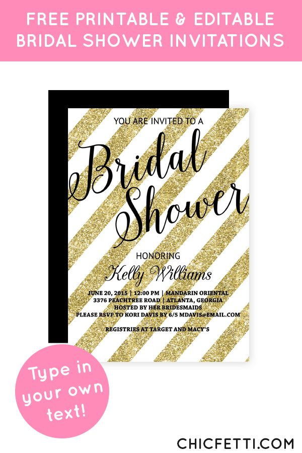 25+ parasta ideaa Glitter Bridal Showers Pinterestissä - free printable wedding shower invitations templates