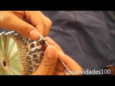 sandylandya@outlook.es Como hacer un bolso con fichas tutorial: Bolso con CD y anillas parte 2