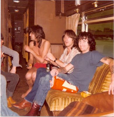 May 18, 1979 Springfield Illinois. Pete Way of UFO, Cliff Williams and Bon Scott on the tour bus
