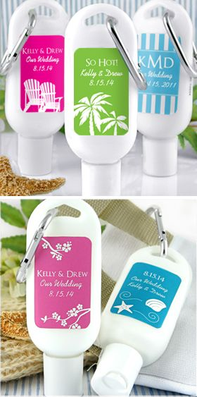 Personalized sunscreen for destination wedding favors, welcome bags, beach themed weddings, and summer parties,  Contact Zuriana's Elegant Occasions, 301.358.1818, to place your custom order.