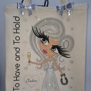 Bridal Personalised Large Cotton Canvas Shoulder Bag 1