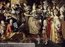 """Feast of Herod with the Beheading of St John the Baptist - detail with Herod (Michael the Brave) and the group of ladies. """"The first attribution to Strobel was made in 1970 by Jaromir Neumann, which was confirmed by Lode Seghers in 1987"""" wiki"""