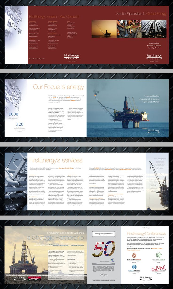 First Energy Capital 8pp, A4 horizontal brochure design.
