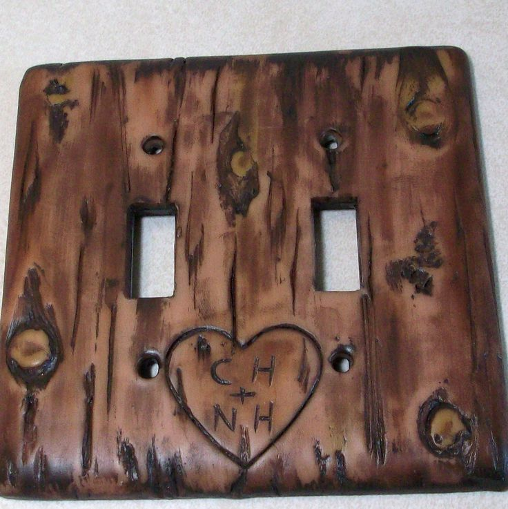 Carved love initials in a Bark of a tree light switch cover. $20.95, via Etsy.  for my front porch and tv switch in living room!