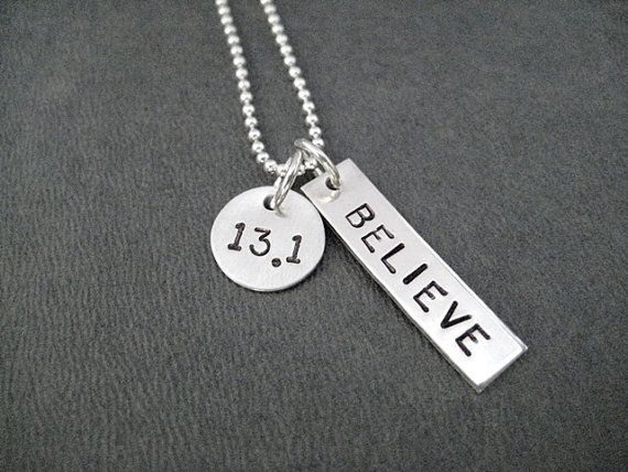 13.1 BELIEVE Sterling Silver Necklace  Choose 16 18 by TheRunHome, $33.00