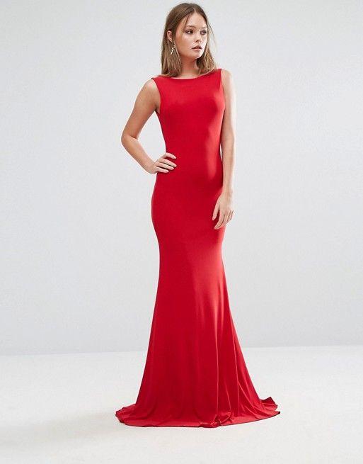 ASOS - Red Club L Deep Plunge Back Maxi Dress