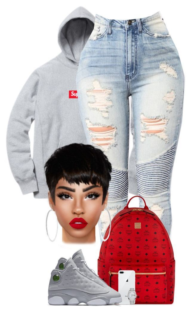 8568f9480221 RedXsupreme by chiamaka-ikaraoha ❤ liked on Polyvore featuring MCM, NIKE,  Rolex and Lime Crime