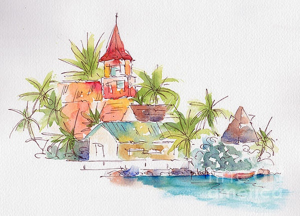 Eglise Evangelique Bora Bora Painting   just lovely. wish I could paint like this.