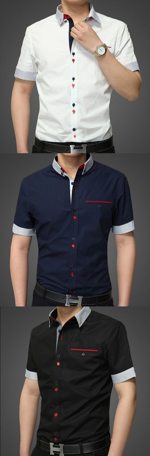 Camisa De los hombres Un Color Casual-Mezcla de Algodón-Manga Corta-Negro / Azul…