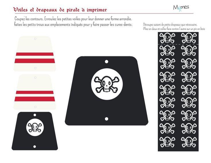 Voici des petites voiles et drapeaux pour décorer votre gâteau de pirate…