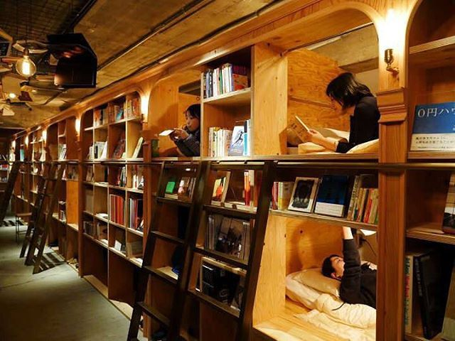Book and Bed hostel in Tokyo lets you rent a bedspace and sleep in the bookshelves!