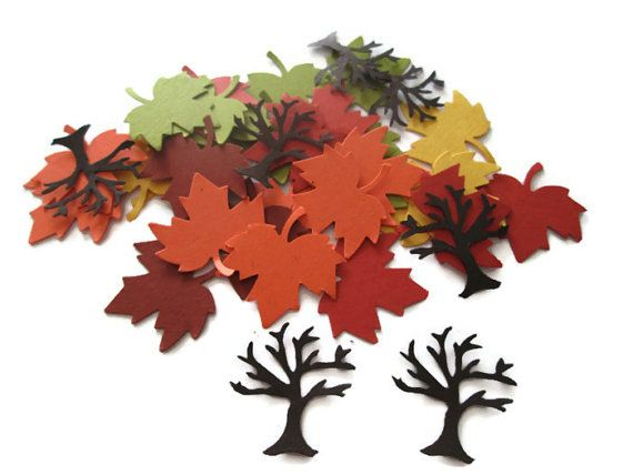 Set of 125 Fall Colors Maple Leaf and Tree Confetti - Fall in Love, Table Decor, Thanksgiving, Fall Weddings, Save the Dates on Etsy, $3.50