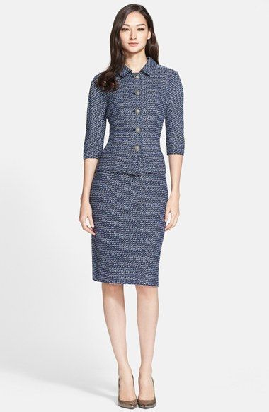 St. John Collection Dashed Stripe Knit Jacket with matching pencil skirt | Nordstrom 2015