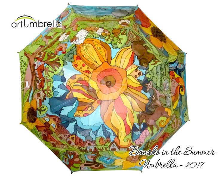 Funny Summer Village hand painted Umbrella by Mira79