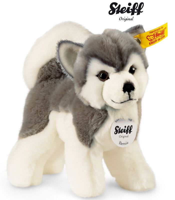 Steiff Husky Bernie Schlittenhund Hund Dog Alaska 104985 17cm NEU OVP