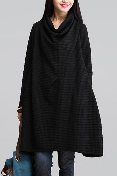 Black Art Теплый вскользь Свободные платья Женщины Топы Q2884A