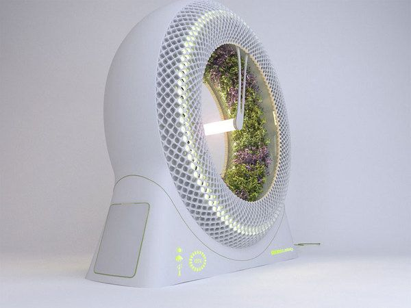 Not exactly a new concept, but a more attractive version than the ones I have seen.  The Green Wheel- Fresh Salad & Herbs in your Living Room.    Developed by NASA this revolutionary rotary hydroponic system concept was created to provide a constant supply of fresh herbs and salad in spacecraft.
