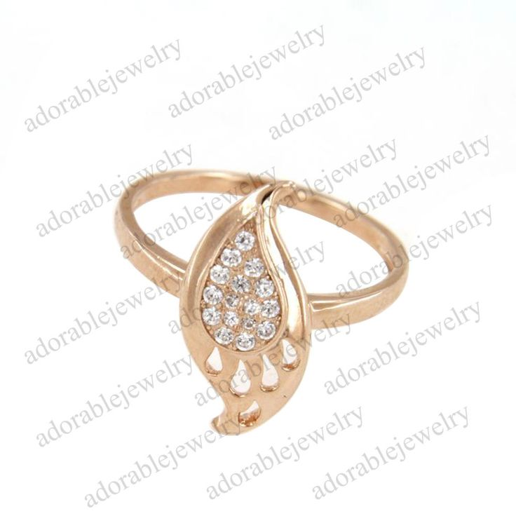 Rose Gold Over .925 Sterling Silver Round Cut White Diamond Leaf Shape Ring #adorablejewelry #LeafShapeRing #AnySpecialDay
