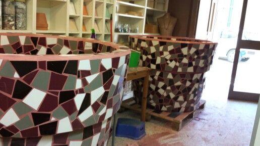 Macro testos de mosaic.  Per recepció d'un edifici d'oficines.