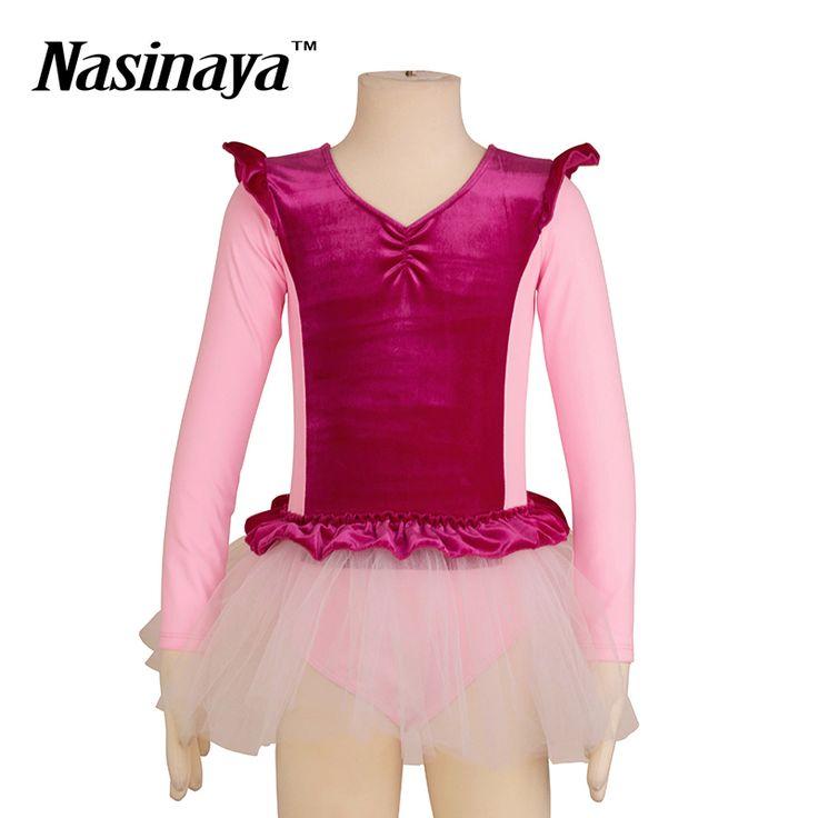 Kid Girls Rhythmic Gymnastics Leotard RG Fitness Wear Long Sleeves Ballet Tutu Dress Dance Costume Children Training Clothes #Affiliate