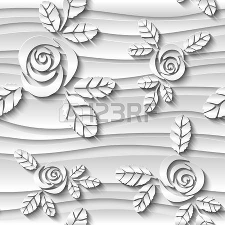 Blurred seamless wavy pattern with roses.  3D vector abstract background.
