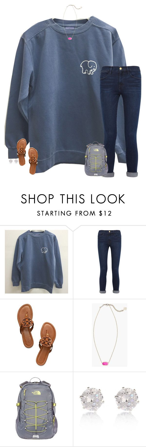 """made it to Houston!!"" by secfashion13 ❤ liked on Polyvore featuring Frame Denim, Tory Burch, Kendra Scott, The North Face, River Island, women's clothing, women, female, woman and misses"